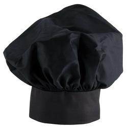 NEW  EASY WEAR CHEF HAT BLACK CLOTH ONE SIZE FIT FREE SHIPPI