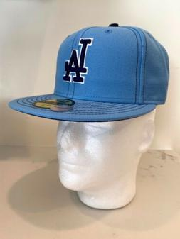 New Era 59 Fifty Baby Blue Fitted Hat LA Dodgers Size 7 1/8
