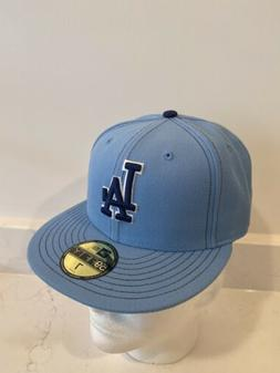 New Era 59 Fifty Baby Blue Fitted Hat LA Dodgers Size 8