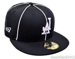 New Era 59Fifty Cap Mens MLB Los Angeles Dodgers Black Pipin