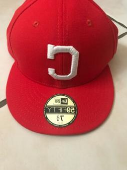 New Era 59Fifty Cleveland Indians Fitted Hat Red White Men's
