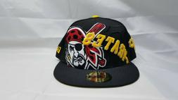 NEW ERA 59FIFTY FITTED HAT.  MLB.  PITTSBURGH PIRATES.  BLAC