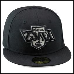 New Era 59fifty Los Angeles LA Kings Fitted Hat Cap All Blac