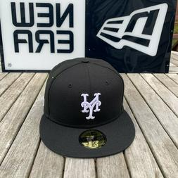New Era 59fifty New York Mets Fitted Hat Cap Black/White/Gre