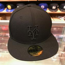 New Era 59fifty New York Mets Fitted Hat Cap All Black/Black