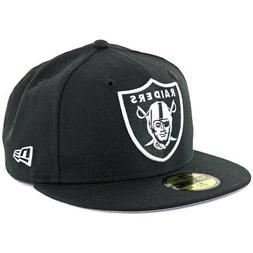 """New Era 59Fifty Oakland Raiders """"Black White"""" Fitted Hat  NF"""