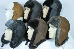 6 COLORS REAL SHEEPSKIN SHEARLING LEATHER FUR HAT Bomber Tra