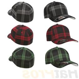 6197 Flexfit Tartan Plaid Fitted Baseball Blank Plain Hat Ba