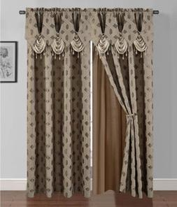 8 pc Taupe Brown Geometric Window Curtains Panels Drapes Val