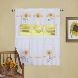 Achim Sun Blossoms Embellished Tier and Valance Window Curta