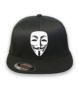 Anonymous Mask Mens Flex Fit HAT CURVED or FLAT BILL ***FREE