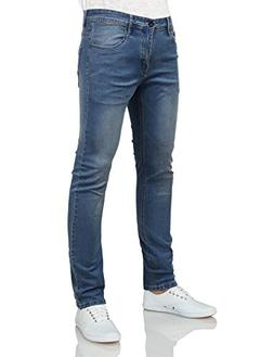 IDARBI Mens Basic Casual Cotton Skinny-Fit Jeans WASHBLUE 30