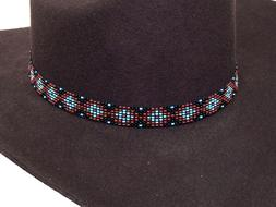 Beaded Cowboy Hat Band Stretch Fit Diamond Design