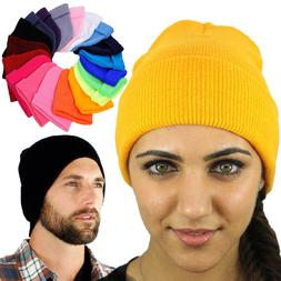 Unisex Beanie Hats For Women Men Solid Color Long Knit Plain