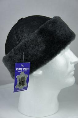Black 100% Sheepskin Shearling Leather Fur Beanie Round Buck