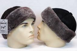 Black & Brown 100% Sheepskin Shearling Leather Fur Beanie Ro
