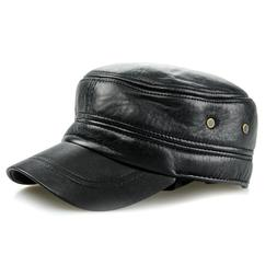 Black Rivet Army Camo Hats For Men Genuine Leather Adjustabl