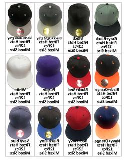 Blank Fitted Flat Bill Solid Baseball Size Caps Hats Lot of