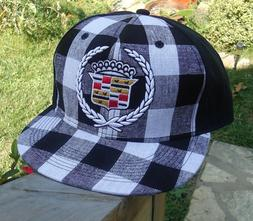 Licensed GM New $21.99 See Sizes Cadillac Black Plaid Fitted Hat Baseball Cap