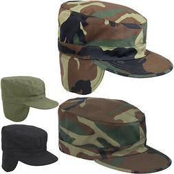 Winter Military Fatigue Hat with Ear Flaps Fitted, Camo Tact