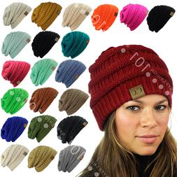 CC Beanie New Womens Knit Slouchy Oversized Thick Cap Hat Un