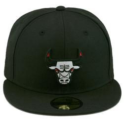 New Era Chicago Bulls Fitted Hat All Black/WHITE/Red Eyes