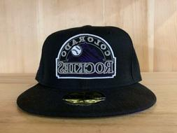 NEW ERA COLORADO ROCKIES  FITTED HAT CAP 59FIFTY BLACK PURPL