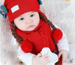Cotton Knitted Hat For Kids Head Wear Fitted Patchwork Winte