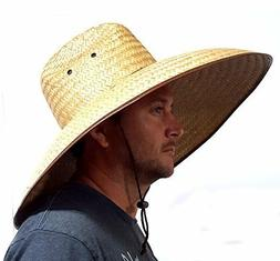 Double Weaved Hard Shell Shade Hat Large Fit Wide Brim Straw