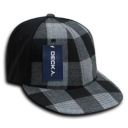 DECKY Flat Bill Flex Cap, Black Plaid