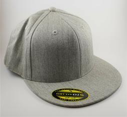 210 Fitted Flat Bill Hat - Gray - 7 1/4 - 7 5/8