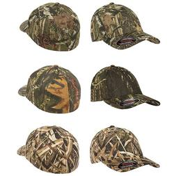 Flexfit Fitted Low Profile Mossy Oak Camo Cotton Hat with Cu