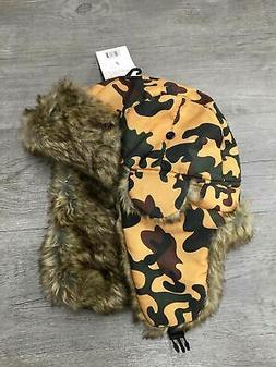Tru Fit Fur Lined Twill Aviator Hat Orange Classic Camo One