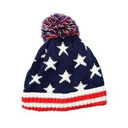 Girl & Boy Toddler American Flag Knit Hat, fits 4-9 years ol