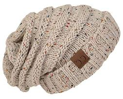 H-6100-2067 Oversized Slouchy Beanie - Confetti Oatmeal