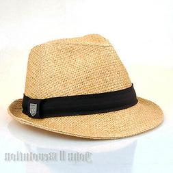 J2R Hemp Jute Straw Type Fedora Trilby Beach Hat Men Women A