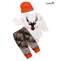 Hot Newborn Baby Boy Girl Kids Long Sleeve Deer Romper Pants