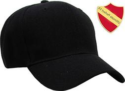 KBY-FITTED BLK 7 1/4 Premium Solid/Plain Fitted Cap Hat, Cur