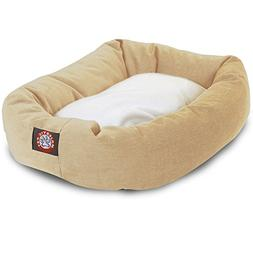 40 inch Khaki & Sherpa Bagel Dog Bed By Majestic Pet Product
