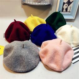 Kids Hats Baby Girls Wool Painter For Children Cotton Fitted