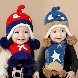 Kids Knitting Hat For Winter Autumn Fitted Cotton Caps Head