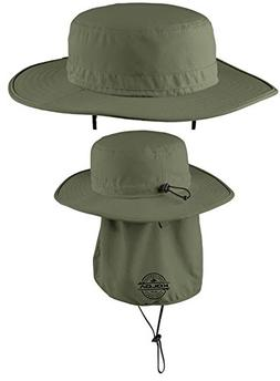 Koloa Surf Co. Wide-Brim Outdoor Hat with Sun Flap-Olive/b-S