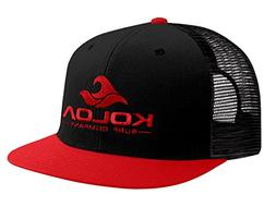 Koloa Surf Mesh Back Wave Logo Trucker Hat in Red/Black RedL