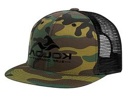 Koloa Surf Mesh Back Wave Logo Trucker Hat in Camo with Blac
