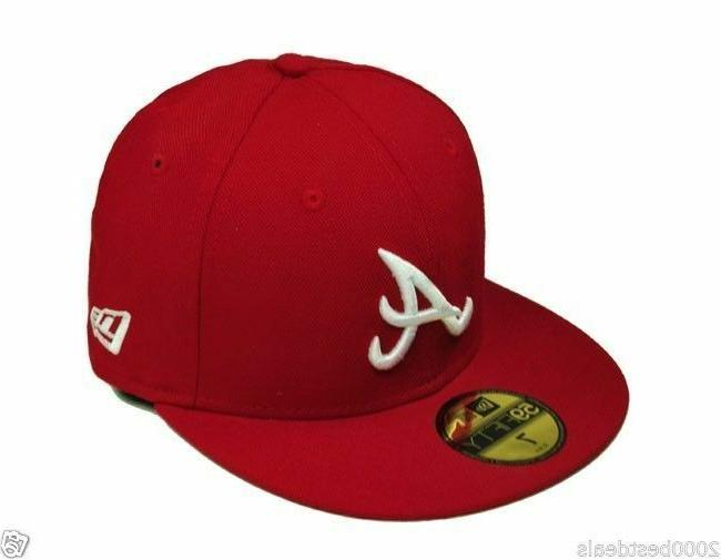 59fifty baseball hat atlanta braves red scarlet
