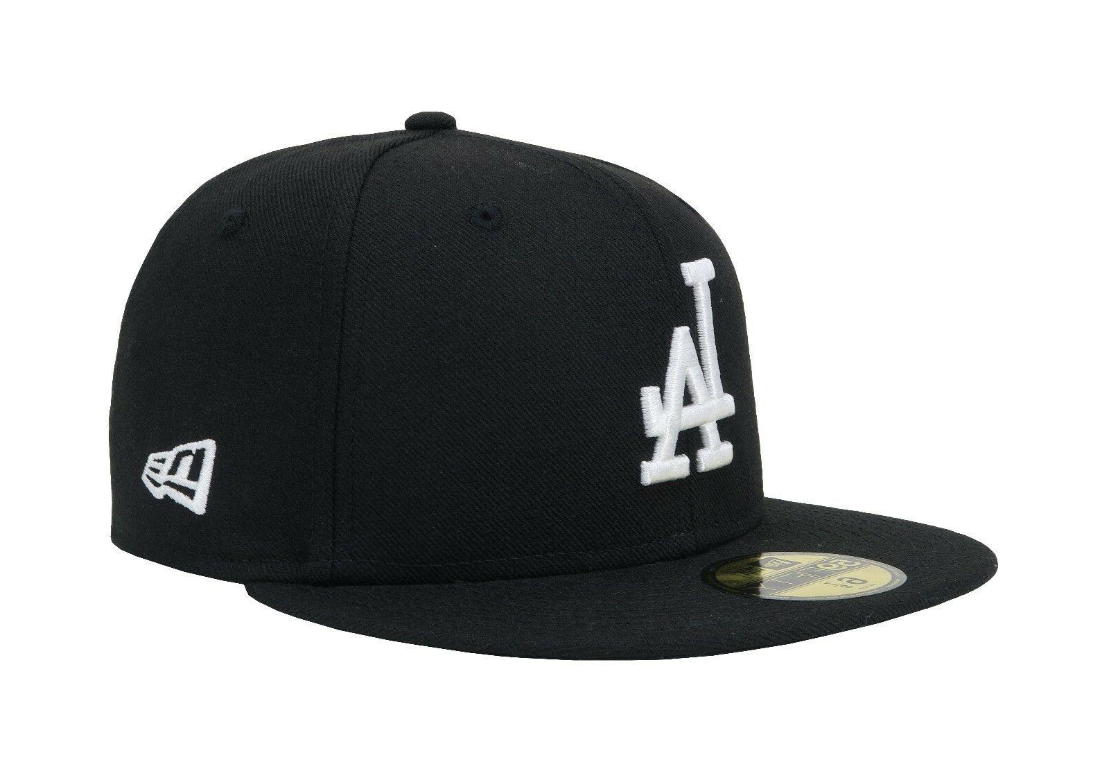 New Era 59Fifty Cap Los Angeles Dodgers Black White LA Back