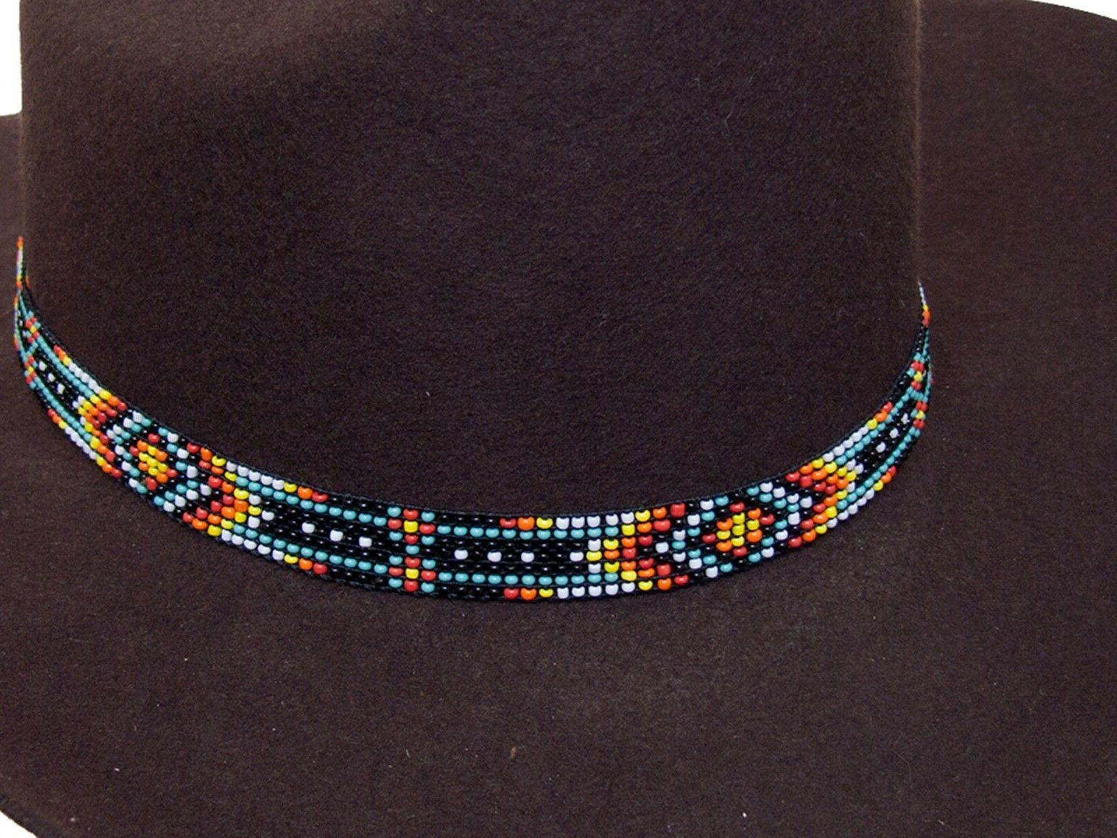 Beaded Cowboy Hat Band Stretch Fit Southwest Design