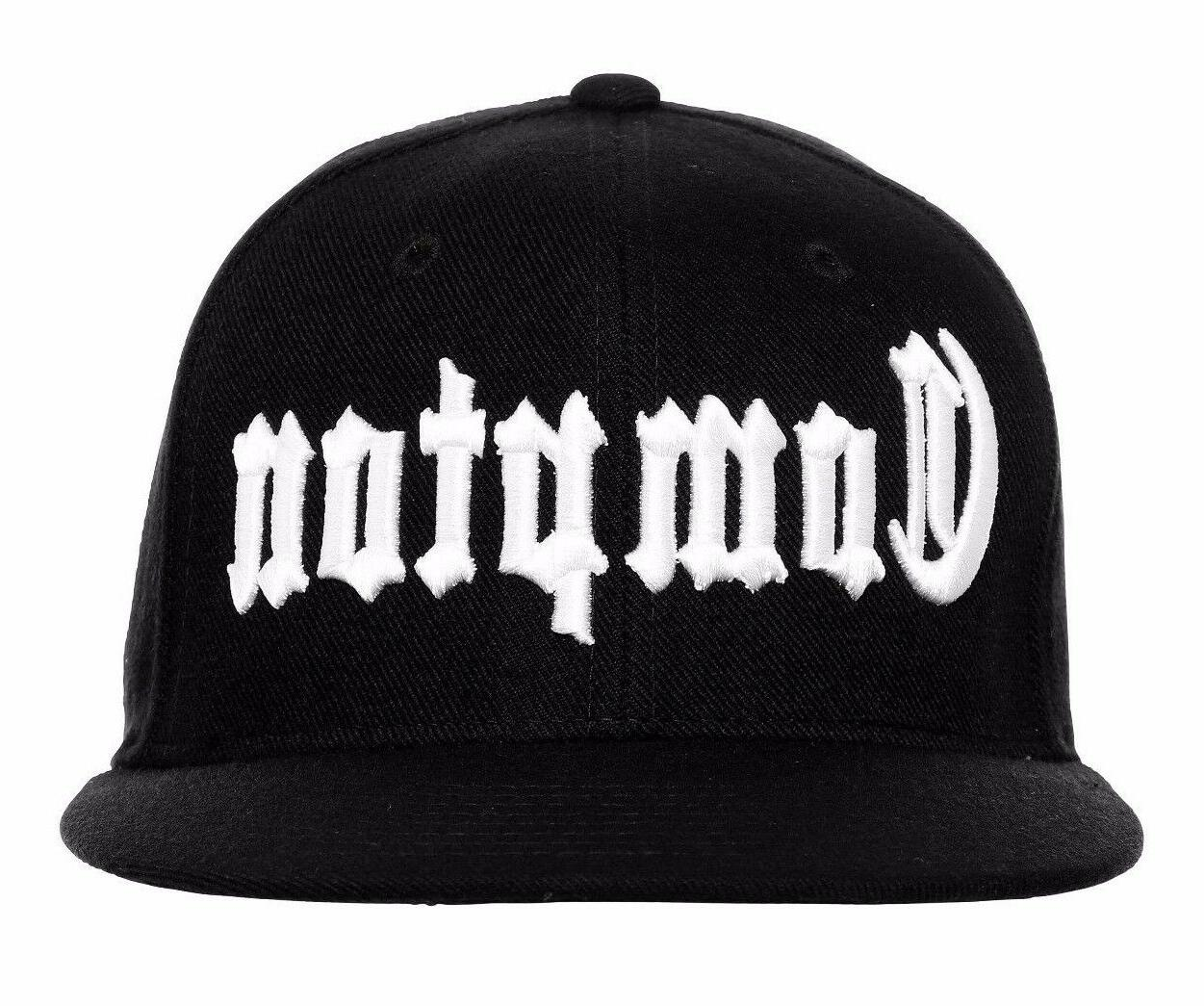 Black Compton Vintage Embroidered Hip Hop Fitted Flat Bill C