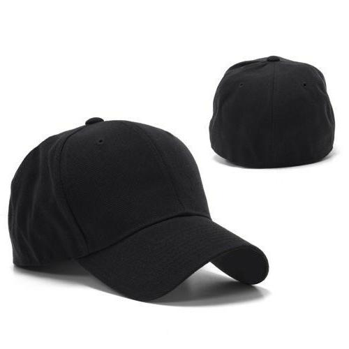 black fitted curved bill plain solid blank