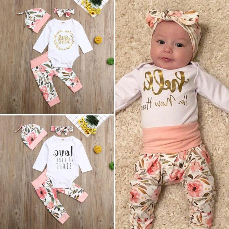 Brand Girls Long Letter Flower Pants <font><b>Hat</b></font> 4pcs lovely